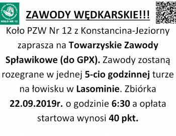 Towarzyskie Zawody Spławikowe do GPX