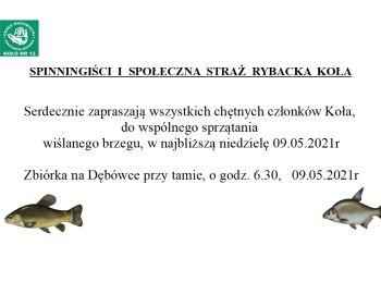 Sprzątanie  wiślanego brzegu w najbliższą niedzielę 09.05. 2021,  Zbiórka w Dębówce o godz. 6.30