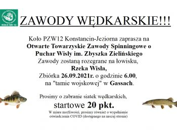 Otwarte Towarzyskie Zawody Spinningowe, rzeka Wisła, Gassy 26.09.2021